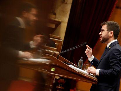 Pere Aragonès, este viernes en el Parlament.