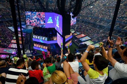 The Arthur Ashe Stadium bleachers in New York during the final of a Fortnite video game tournament in July 2019.
