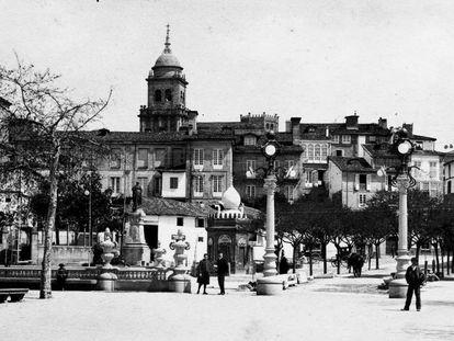 Plaza Obispo Cesáreo de Orense a principios del siglo XX.
