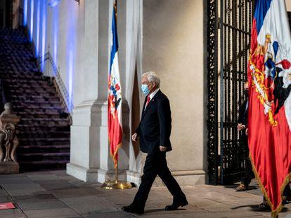 El presidente Sebastián Piñera, este domingo antes del anuncio en el Palacio de la Moneda.