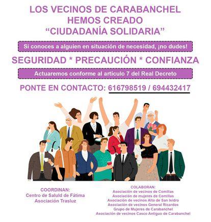 """""""Ciudadanía Solidaria"""", red de cuidados de vecinos de Carabanchel"""
