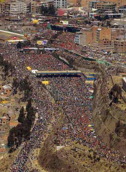 Manifestación el viernes en El Alto contra el cambio de capital.