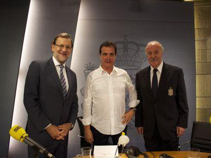 Mariano Rajoy, José Ramón de la Morena y Vicente del Bosque.
