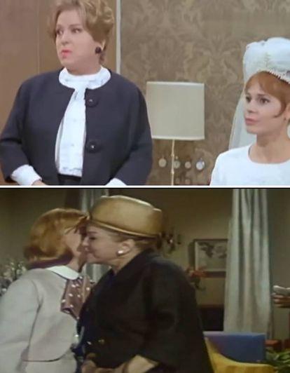 Isabel Garcés, vestida de Balenciaga en 'Las hijas de Helena' (arriba) y 'Como dos gotas de agua' (abajo).