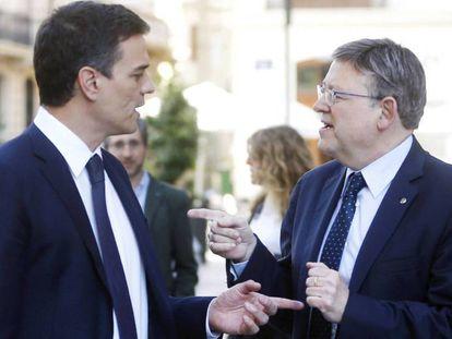 Pedro Sánchez y Ximo Puig durante un encuentro en Valencia.