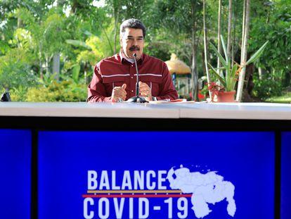Nicolás Maduro, durante la presentación del balance de covid-19, este domingo en el Palacio de Miraflores en Caracas.