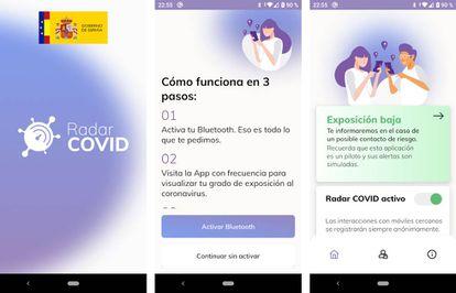 Diferentes pantallas de Radar COVID, la app del Gobierno de España.