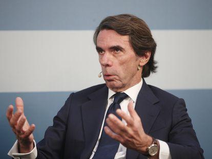 El presidente de FAES, José María Aznar, en un acto el pasado febrero.