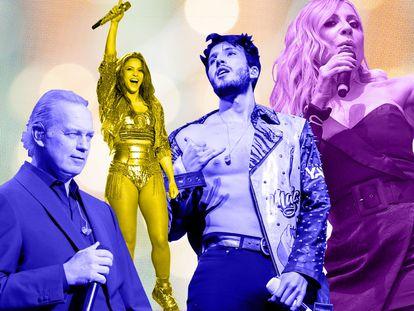 Bertín Osborne, Shakira, Sebastián Yatra o Marta Sánchez, los autores de canciones del verano del pasado o, posiblemente, en el caso de Osborne y Yatra, de la del verano que comienza en breve.