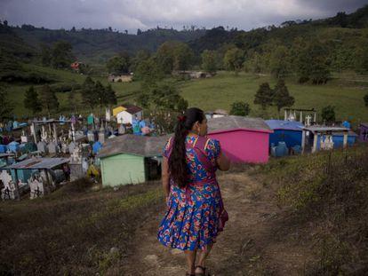 Cecilia Peña, en el panteón del PAN, en Chicahuaxtla.