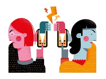 Ilustración de una discusión en redes sociales.