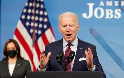 Joe Biden, durante un discurso sobre cómo estimular el empleo el pasado 7 de abril en la Casa Blanca.
