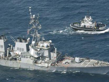 El buque USS Fitzgerald, cuyo comandante está herido, chocó cerca de las costas de Japón con un mercante con bandera filipina