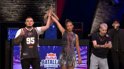 MC Skone (ESP) and MC Rapder (MEX) await the winner's annoucement at the final of the Red Bull Batalla de los Gallos International Final in the Dominican Republic on December 12th, 2020.  Editor's note: Image is a live feed screengrab // Red Bull Media House // SI202012120942 // Usage for editorial use only //