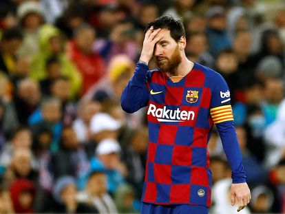 Lionel Messi durante el partido con el Real Madrid.