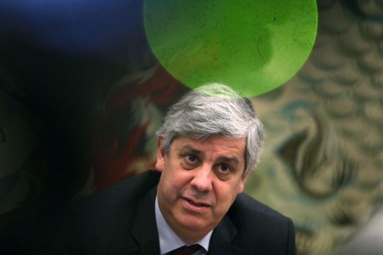 El presidente del Eurogrupo, Mário Centeno, en Lisboa.