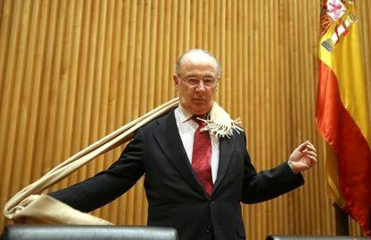 Rodrigo Rato en una comparecencia en el Congreso de los Diputados en 2018.