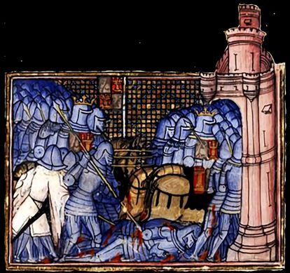 Medieval miniature of the battle of Montiel with the troops of Pedro I taking refuge in the castle.