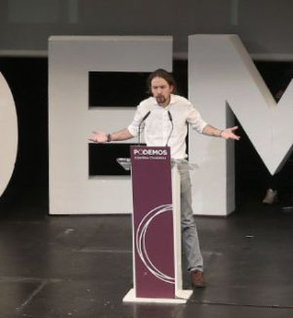 Pablo Iglesias, en la clausura de la asamblea ciudadana de Podemos.
