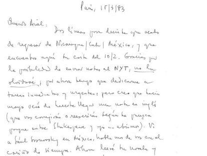Carta manuscrita de Cortázar a Dorfman, marzo de 1983.