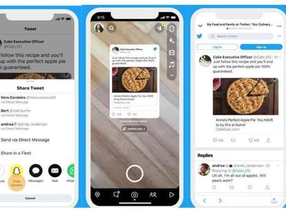 Tuits compartidos en Snapchat