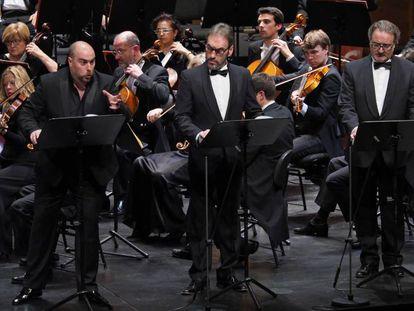 Un momento de la representación, en versión concierto, de 'Poliuto' en el Liceo.