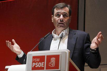 Tomás Gómez, en un acto ante delegados del PSM.