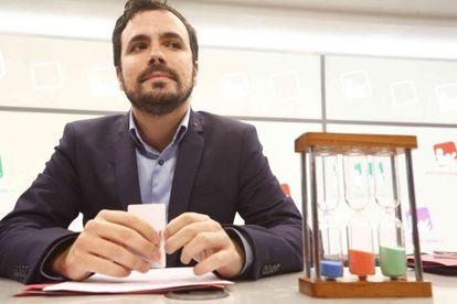 Alberto Garzón, en el Consejo Político de IU que se celebra este sábado.
