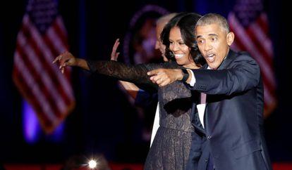 Barack Obama y su mujer Michelle, durante su discurso de despedida