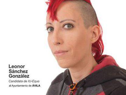 Cartel electoral de Leonor Sánchez, candidata de IU Equo al Ayuntamiento de Ávila.