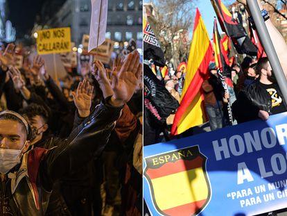 A la izquierda, manifestación en Madrid por la encarcelación de Pablo Hasél, el 17 de febrero. A la derecha, marcha en homenaje a los caídos de la División Azul en Madrid, el 13 de febrero.