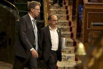 Los diputados del PDeCAT Ferran Bel y Carles Campuzano en el Congreso de los Diputados.