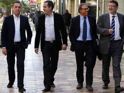 Francesc Romeu, Jorge Alarte, Manuel Mata y Ximo Puig tras un debate en la SER esta semana.
