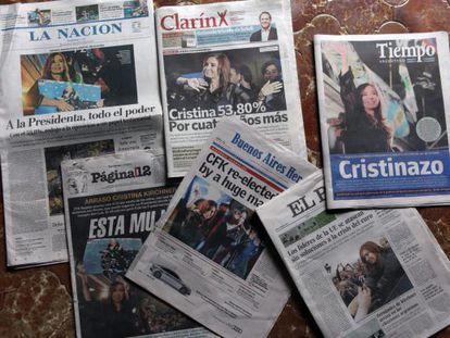 Primeras páginas de algunos diarios con la victoria de Cristina Fernández.