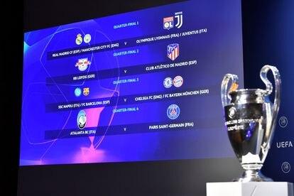 Cuadro del sorteo de los cuartos de final de la Champions League celebrado este viernes en Nyon (Suiza).