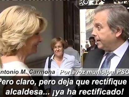 Aguirre y Carmena hablan sobre la web de desmentidos.