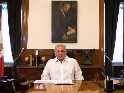 El presidente de México, Andrés Manuel López Obrador, mientras ofrece un mensaje el pasado domingo, en Palacio Nacional de Ciudad de México(México).