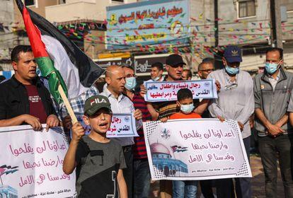 Manifestación en solidaridad con los palestinos de Jerusalén, el domingo en Gaza.