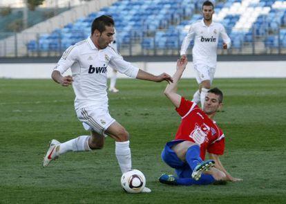 David Carvajal, en un encuentro de Segunda División.