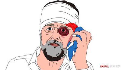 Un fotograma del vídeo, en el que aparece el presidente del Gobierno, Mariano Rajoy, como víctima de un supuesto maltrato.