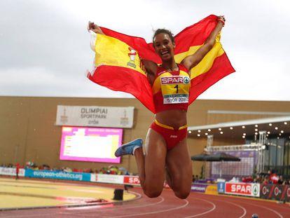 María Vicente, tras ganar el Europeo juvenil.