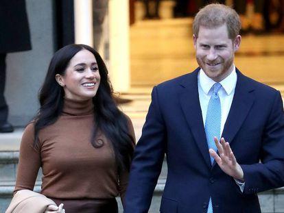 Enrique de Inglaterra y Meghan Markle, en la Casa de Canadá en Londres, el 7 de enero.