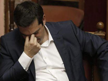 El primer ministro griego, Alexis Tsipras, tras su discurso en el Parlamento, el 5 de junio.