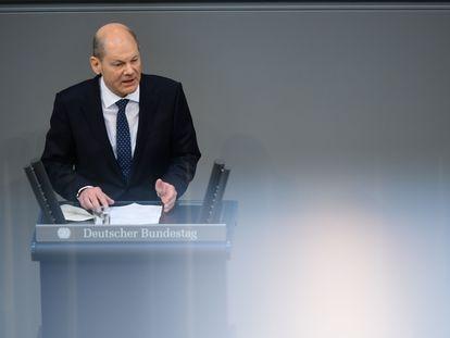 El ministro de Finanzas alemán, Olaf Scholz, en el Bundestag este miércoles.