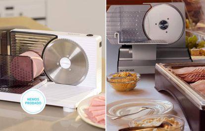 Dos de las propuestas de máquinas cortafiambres domésticas que hemos probado.