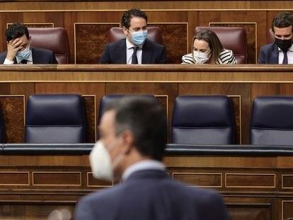 El presidente del Gobierno, Pedro Sánchez (de espaldas), y al fondo a la derecha, el líder del PP, Pablo Sánchez, en una sesión de control al Gobierno en junio.