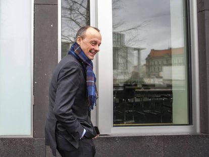 Friedrich Merz, el 25 de febrero en Berlín tras anunciar su candidatura.