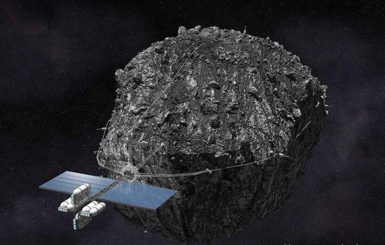 Recreación de la tecnología para la minería de asteroides, según una empresa del sector.
