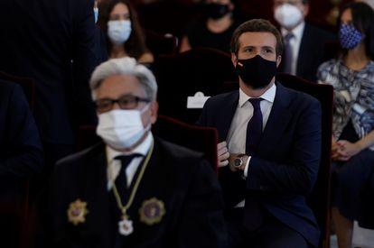 El líder del PP, Pablo Casado asiste a la celebración este lunes del acto de apertura del Año Judicial en el Tribunal Supremo en Madrid.