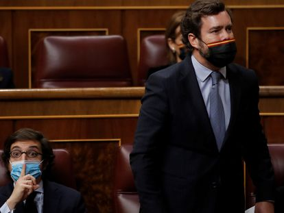 El portavoz de Vox en el Congreso, Iván Espinosa de los Monteros (de pie) y el diputado de su grupo José María Figaredo, el pasado 21 de abril en el Congreso.